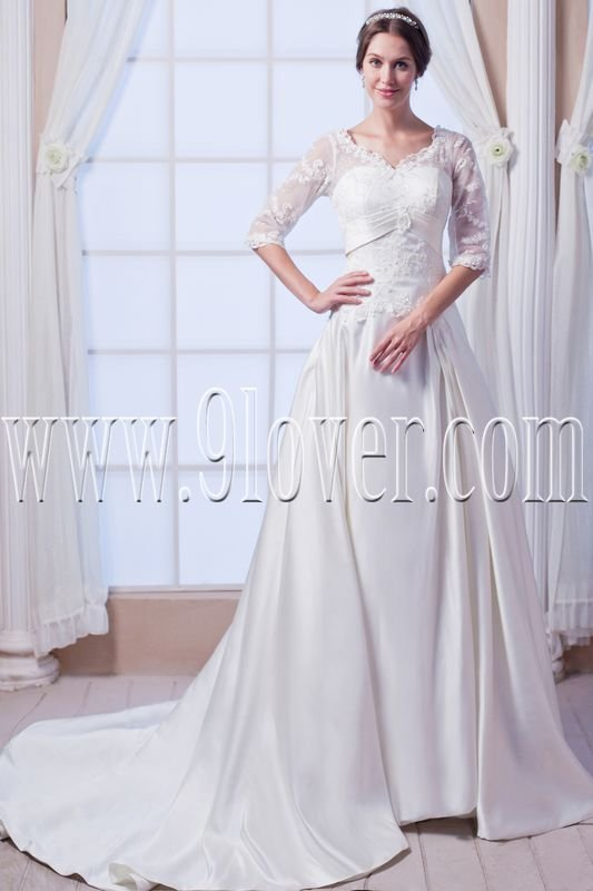 exclusive long sleeves a-line floor length muslim wedding dress IMG-7758