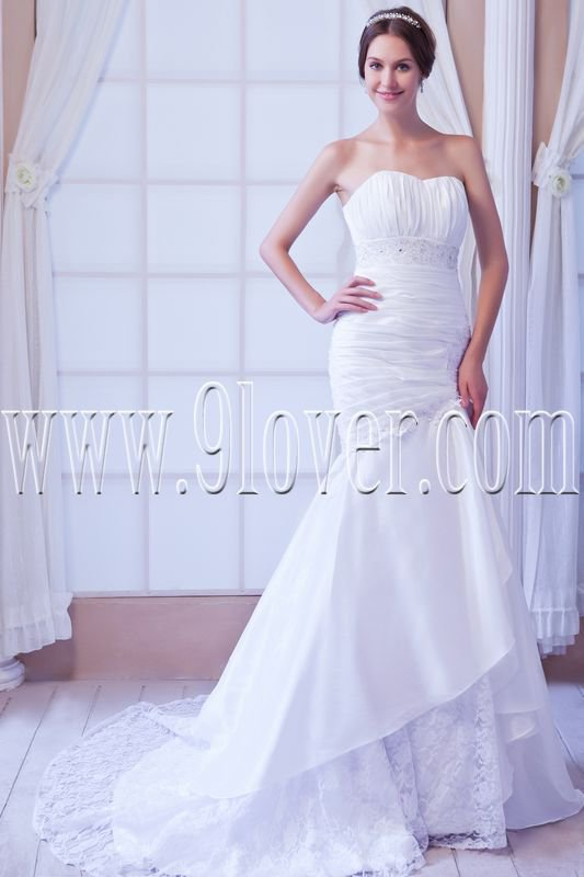 exclusive satin a-line sweetheart trumpet mermaid wedding dress IMG-7795