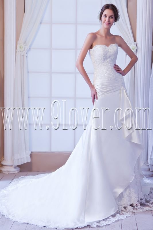 flattering satin sweetheart a-line floor length wedding dress IMG-7836