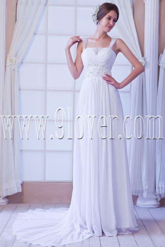 stunning chiffon straps column floor length beach wedding dress IMG-7855
