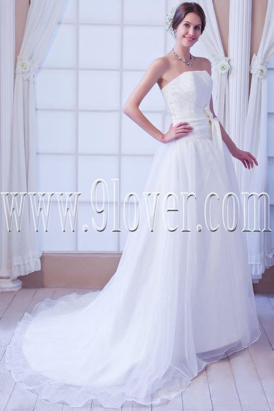 stunning white organza strapless a-line floor length wedding dress IMG-7892