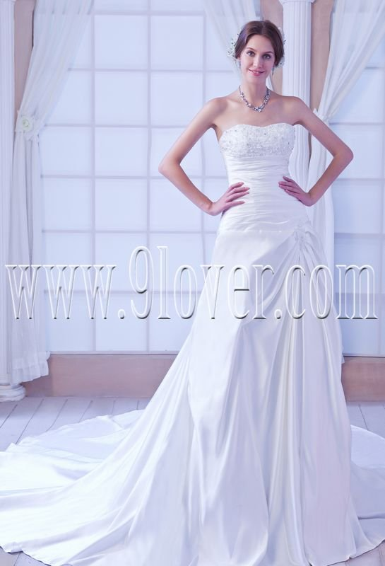 modern and classic satin shallow sweetheart a-line floor length wedding dress IMG-7915