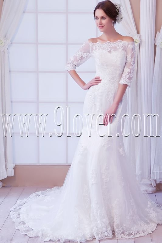 vintage off the shoulder trumpet lace mermaid wedding dress IMG-7957