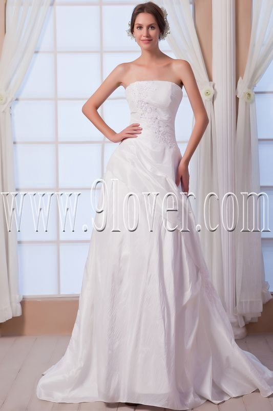 classic white satin strapless column floor length wedding dress IMG-7970