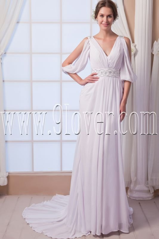 charming and elegant chiffon v-neck a-line floor length beach wedding dress IMG-7986