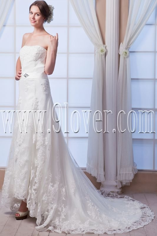vintage and retro strapless a-line floor length wedding dress with appliques IMG-8014