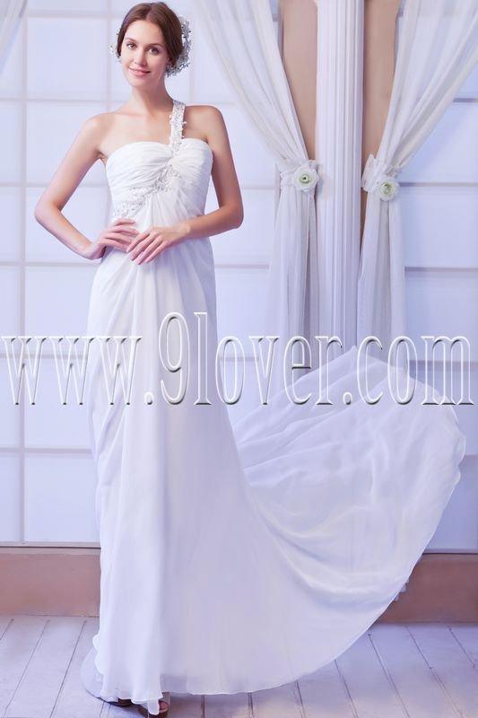 a-line one shoulder asymmetrical straps floor length beach wedding dress IMG-8044