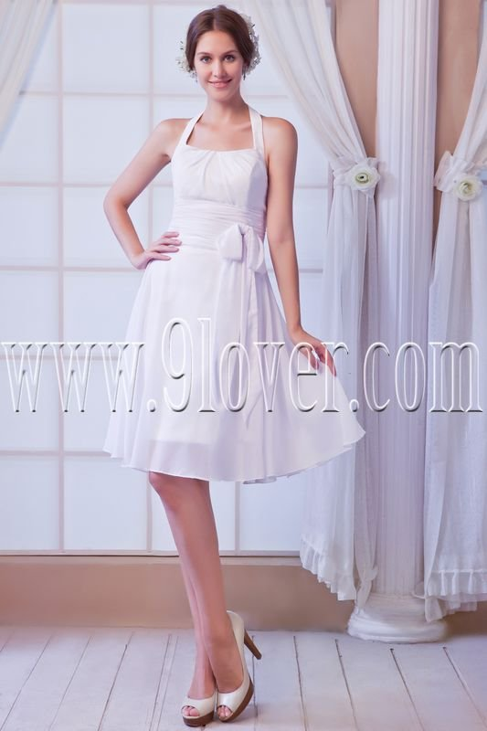 modern white chiffon halter a-line knee length wedding dress IMG-8075