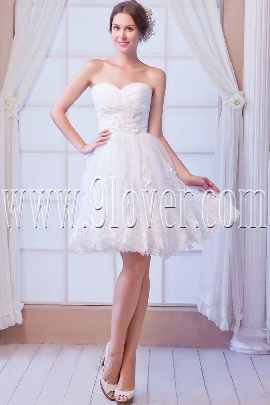 modern white tulle sweetheart a-line knee length wedding dress IMG-8084