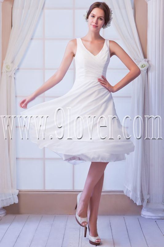 elegant white chiffon v-neck a-line knee length homecoming dress IMG-8118