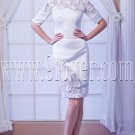 jewel neck half sleeves a-line knee length mother of the bride dress IMG-8133