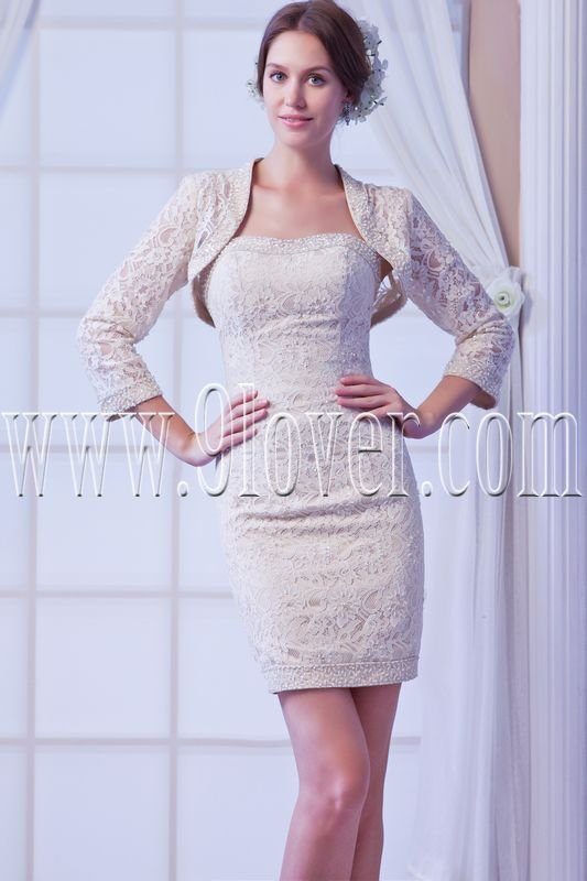 modern champagne lace mini length homecoming dress IMG-8144