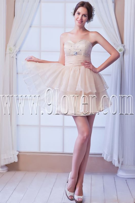 modern champagne tulle sweetheart a-line mini length cocktail dresses IMG-8168
