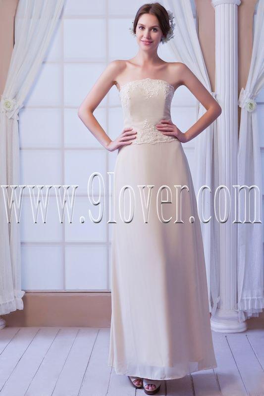 column floor length light champagne chiffon ankle length bridesmaid dress IMG-8180