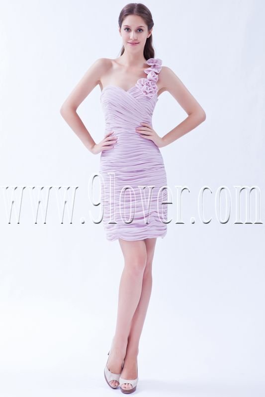 charming pink chiffon one shoulder a-line mini length homecoming dress IMG-8211