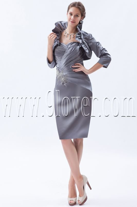 elegant silver satin a-line knee length long sleeves mother of the bride dress IMG-8417