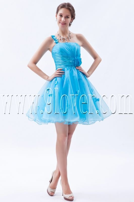 one shoulder a-line mini length organza sky blue cocktail dress IMG-8430