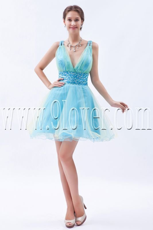 mini length v-neckline sky blue tulle cocktail dress IMG-8451