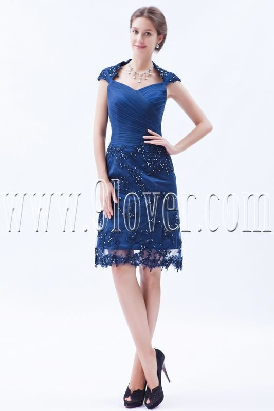charming dark navy tulle knee length mother of the bride dresses IMG-8462