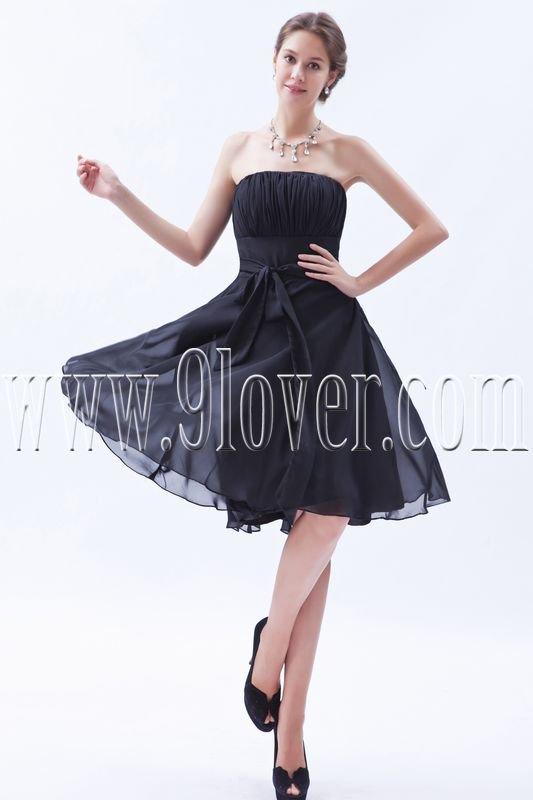 charming black chiffon strapless a-line knee length homecoming dress IMG-8475
