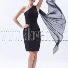modern black chiffon one shoulder a-line mini length mother of the bride dress IMG-8486