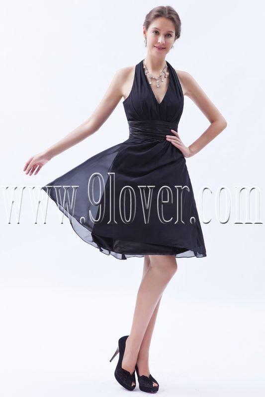 sexy black chiffon halter a-line mini length homecoming dress IMG-8511