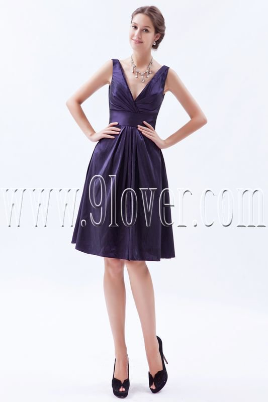 charming purple satin v-neck a-line knee length homecoming dress IMG-5823