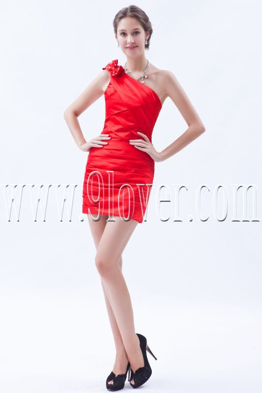 modern red taffeta one shoulder a-line mini length cocktail dress IMG-8566
