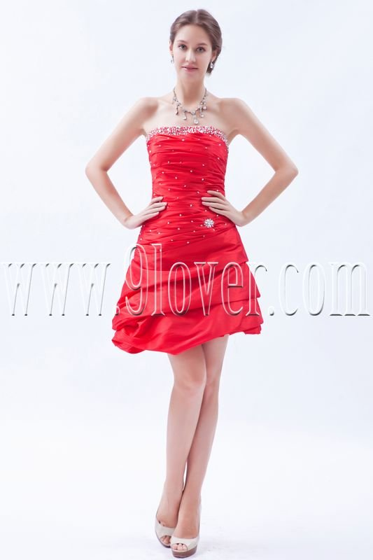attractive red taffeta strapless a-line mini length homecoming dress IMG-8577