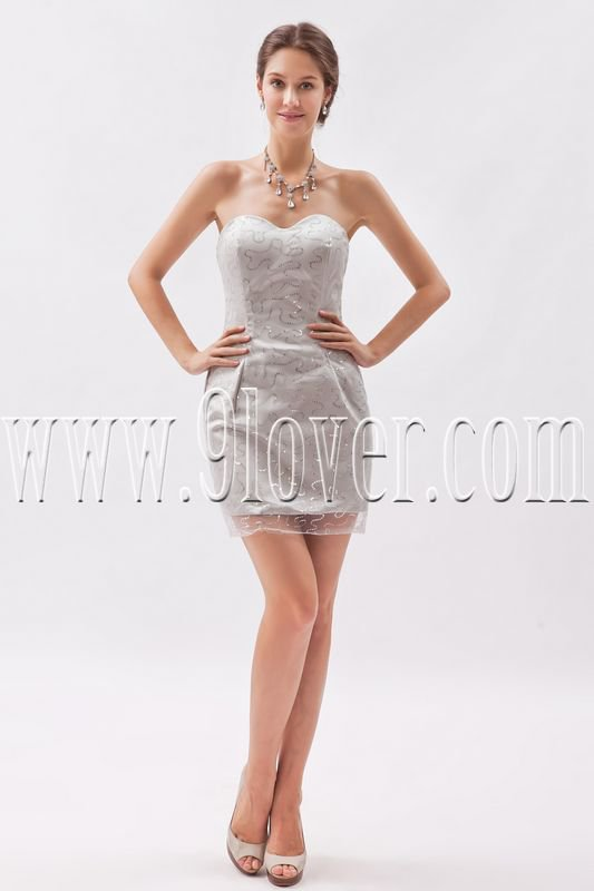 modern and sexy sequined lace sweetheart a-line mini length cocktail dress IMG-8625