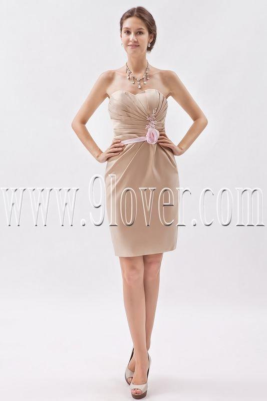 modern light champagne satin sweetheart a-line mini length homecoming dress IMG-8635