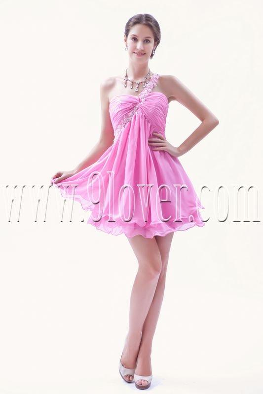 modern pink chiffon one shoulder empire mini length cocktail dress IMG-8659