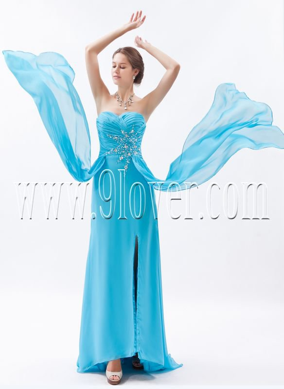 charming sky blue chiffon sweetheart column floor length formal evening dress IMG-8670