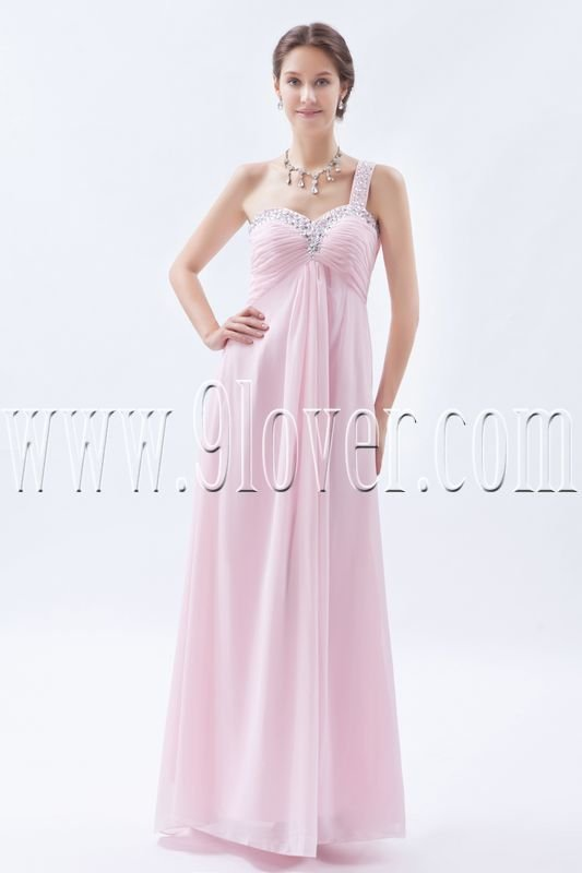 empire floor length pearl pink chiffon one shoulder bridesmaid dress IMG-8684