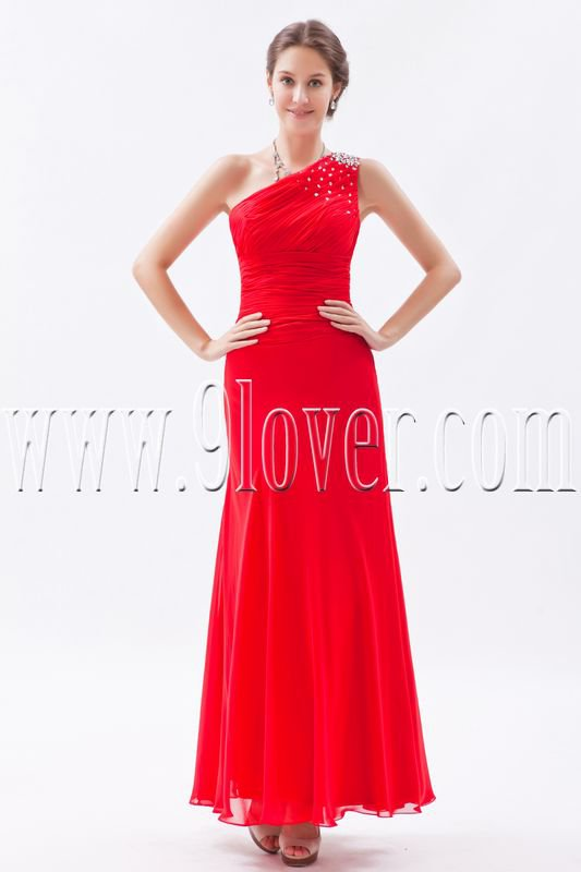 a-line red chiffon one shoulder ankle length bridesmaid dress IMG-8720