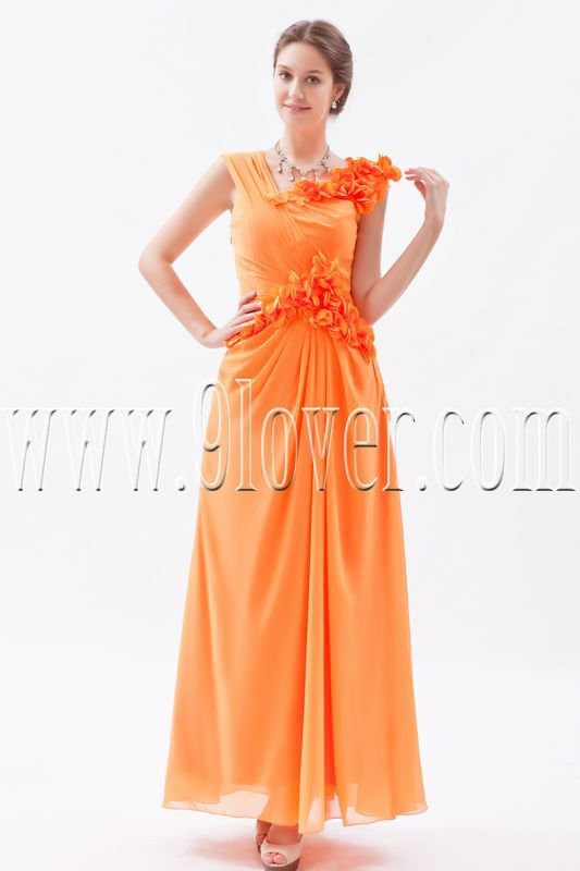 column orange chiffon one shoulder ankle length bridesmaid dress IMG-8732