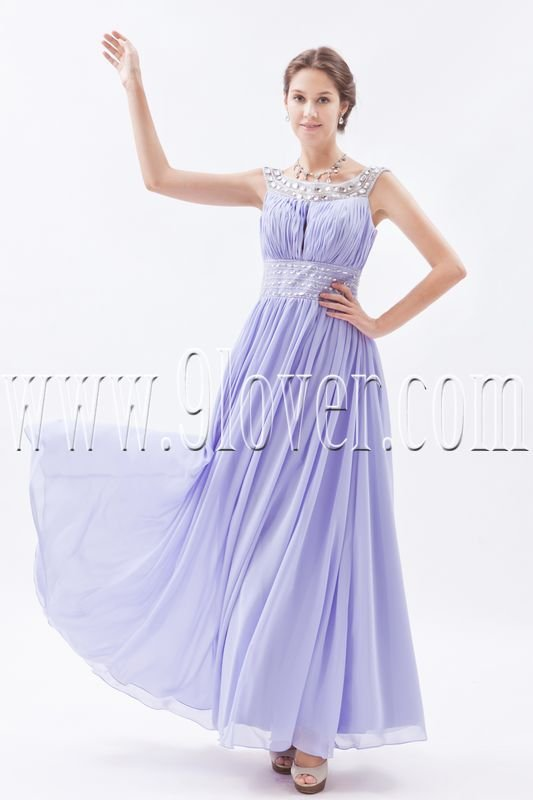 charming lavender chiffon scoop neckline a-line ankle length bridesmaid dress IMG-8745