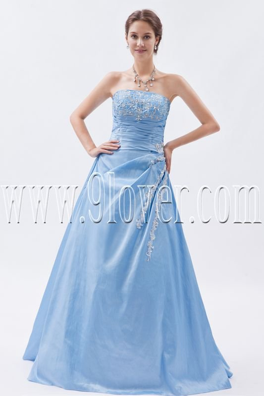 classic sky blue satin strapless a-line floor length long prom dress IMG-8757