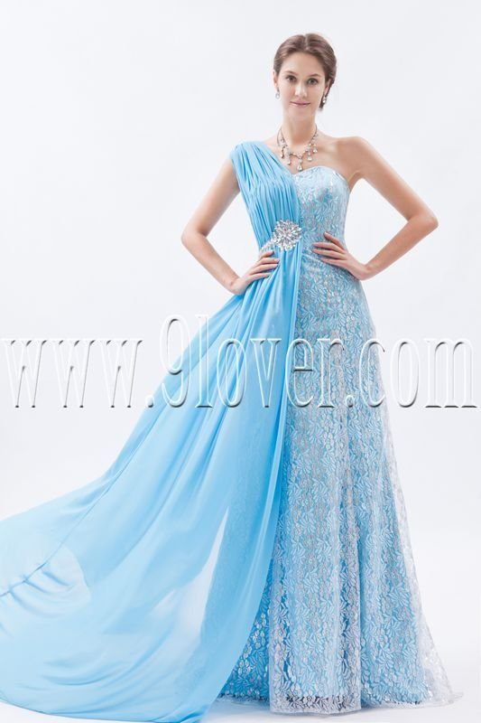 sky blue chiffon and lace one shoulder a-line floor length long evening dress IMG-8766