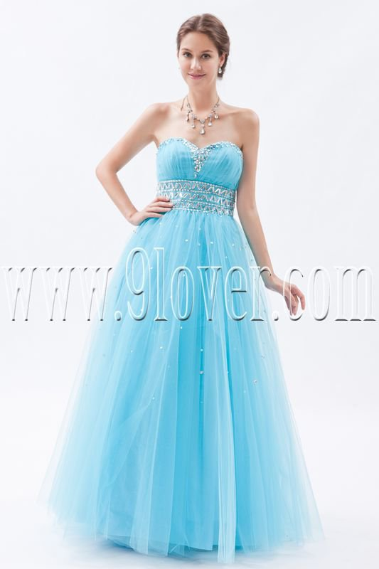 sky blue tulle sweetheart a-line floor length long prom dress IMG-8787
