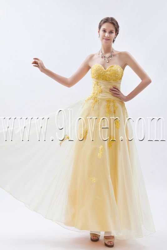 stunning yellow organza sweetheart a-line ankle length bridesmaid dress IMG-8801