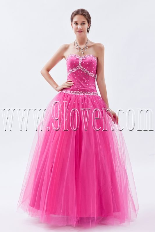 fuchsia tulle sweetheart ball gown floor length long prom dress IMG-8811
