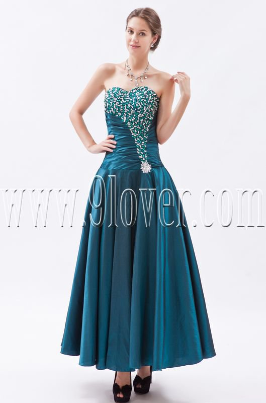 modern dark green satin ankle length prom dress with beaded bust IMG-8823