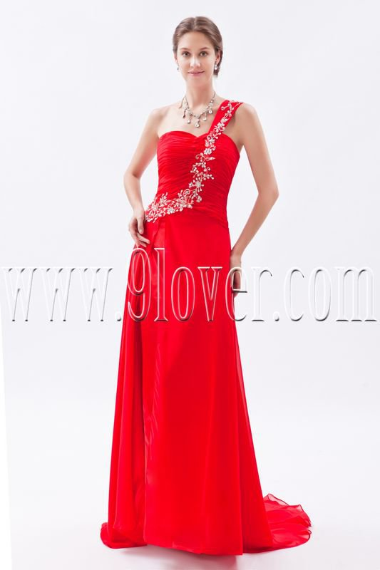 a-line red chiffon one shoulder floor length formal evening dress IMG-8836