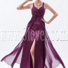 sexy grape chiffon straps a-line ankle length informal evening dress IMG-8882