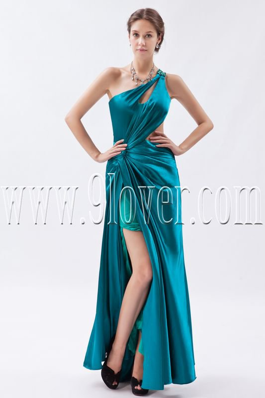sexy turquoise satin one shoulder a-line floor length evening dress IMG-8915