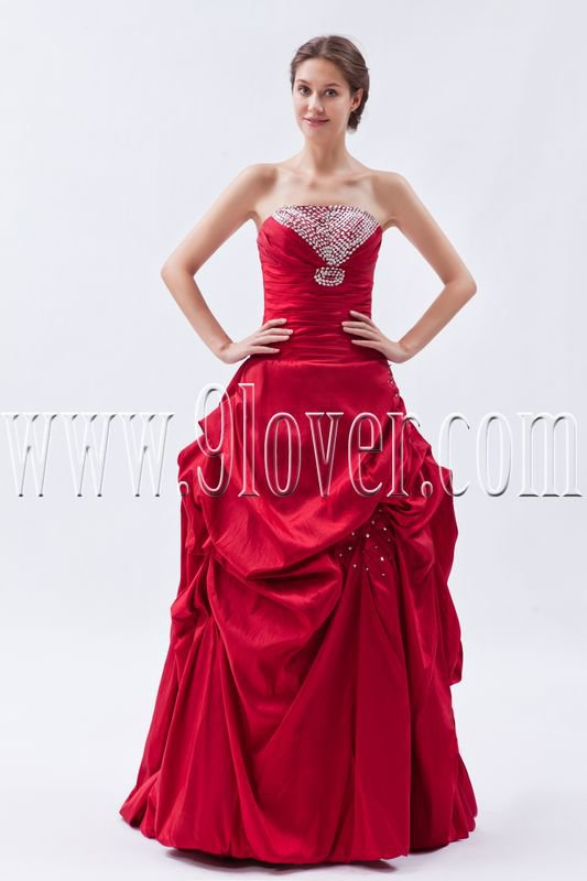 classic red taffeta strapless ball gown floor length quinceanera dress IMG-8928