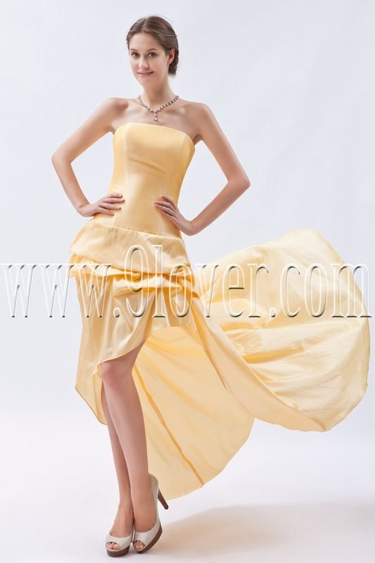 stunning gold satin strapless a-line mini length cocktail dress with brush train IMG-8940