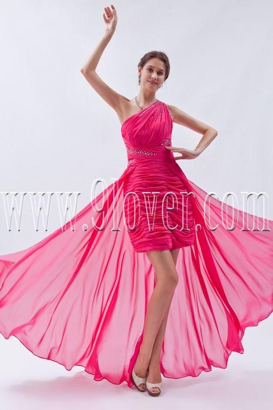 modern fuchsia chiffon one shoulder a-line mini length cocktail dress IMG-8952