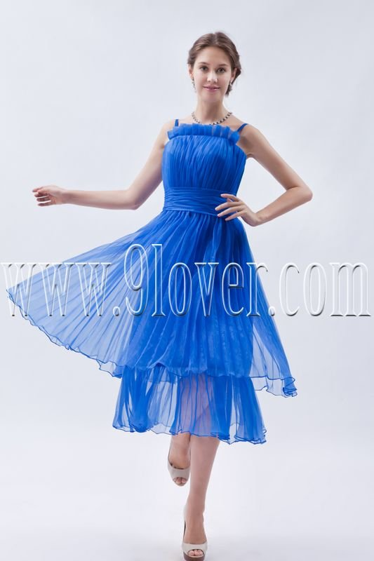 charming royal blue chiffon straps a-line tea length prom dress IMG-8964